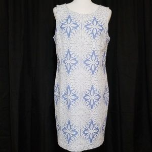 Talbots Light Blue White Shift Dress